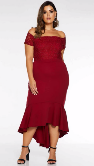 Quiz - Curve Berry Lace Bardot Fishtail Midi Dress