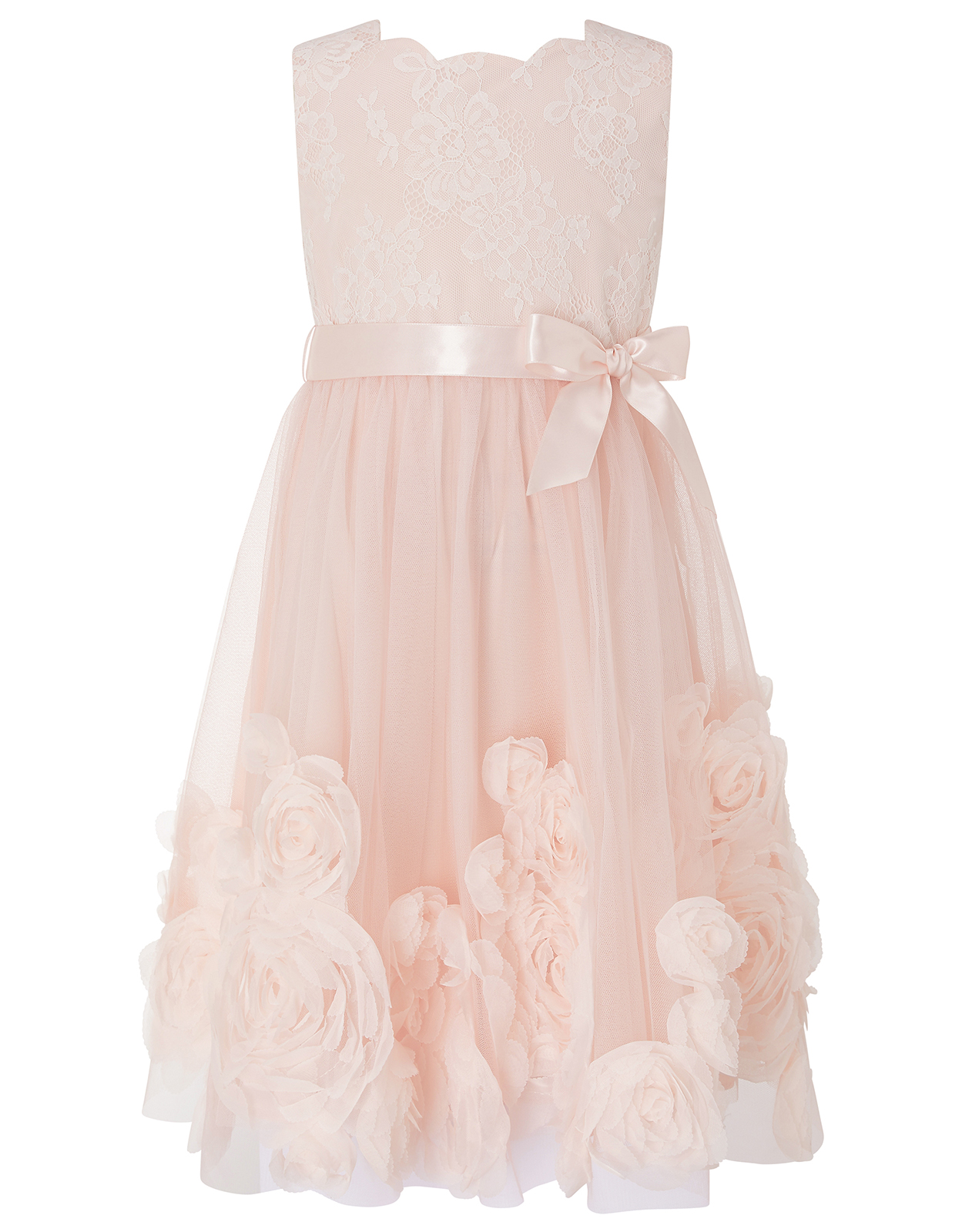 MACAROON OCCASION DRESS WITH 3D FLOWERS