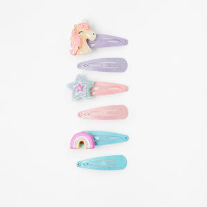 Accessorize Girls Pink and Blue Unicorn Print Hair Clip Multipack