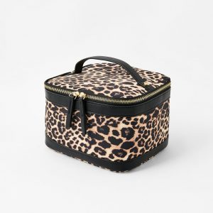 Accessorize Beige and Brown Leopard Print Square Lunch Box