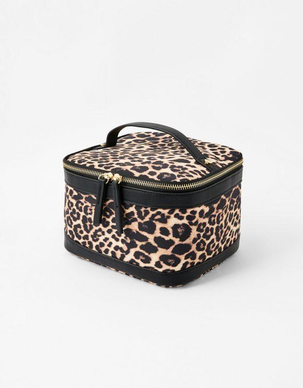 Accessorize Beige and Brown Leopard Print Square Lunch Box