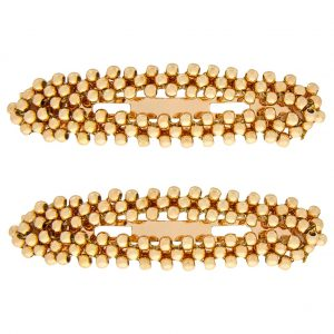 2x Gold Beaded Snap Hair Clips