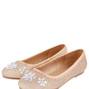 Glitter and Gem Ballerina Shoes Gold