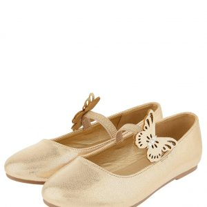 Butterfly Shimmer Ballerina Shoes Gold