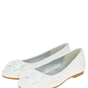 Sparkle Bow Glittery Ballet Flats Natural