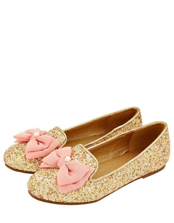 Chiffon Bow Glittery Ballet Flats Gold