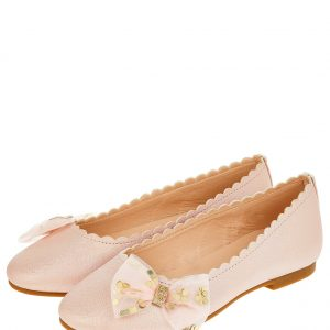 Bow Scalloped Ballerina Shoes Pink