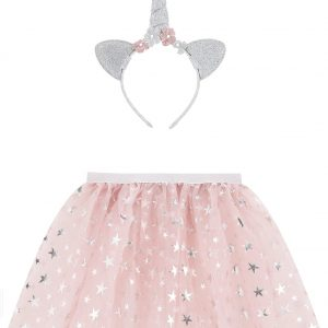 Accessorize Girls Pink and Silver Glitter Star Print Unicorn Dress-Up Set