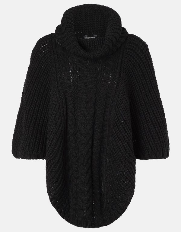 Accessorize Black Cable Knitted Poncho