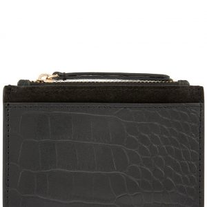 Accessorize Black Slim Croc Print Leather Shoreditch Effect Card Holder