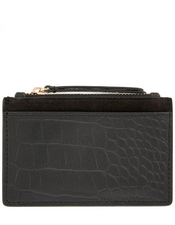 Accessorize Black Slim Croc Print Leather Shoreditch Effect Card Holder