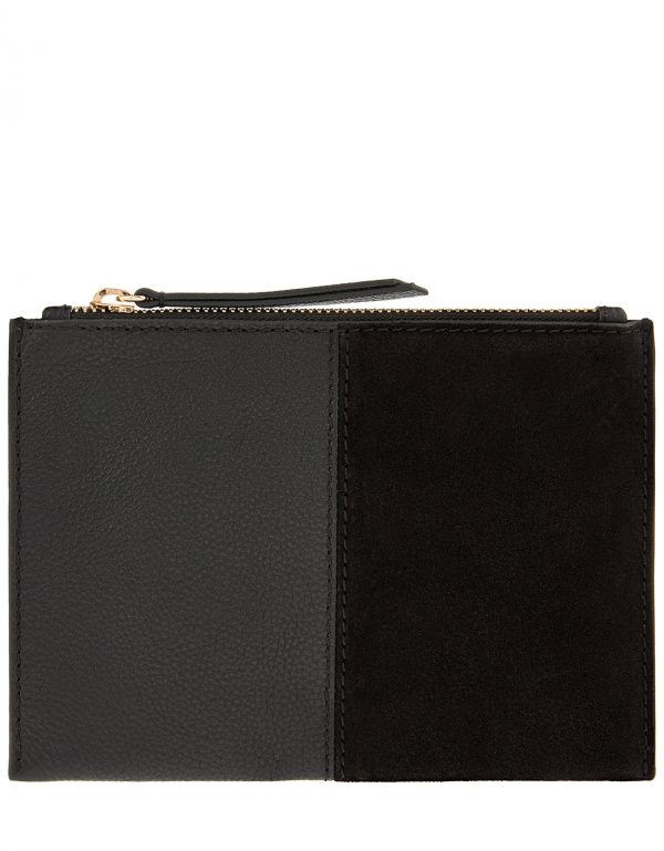 Accessorize Black Fully Lined Leather Carmen Pouch Bag