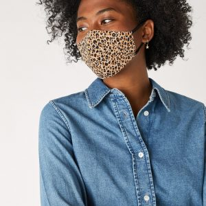 Accessorize Ladies Brown and Black Stylish Leopard Print Pure Cotton Face Covering