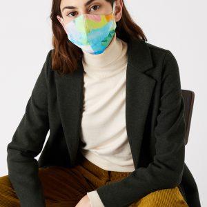 Accessorize Ladies Blue, Orange and Yellow Pure Cotton Watercolour Print Face Covering, Size: 1x1cm