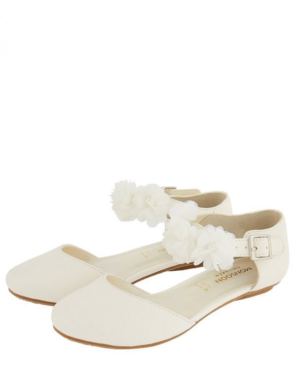 Monsoon Corsage Two-Part Flat Shoes Ivory