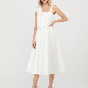 Monsoon Carrie Bow Satin Midi Bridal Dress Ivory