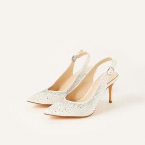 Monsoon Hellie Diamante Bridal Slingback Courts Ivory