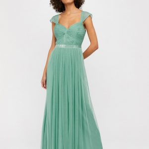Monsoon Jennifer Ruched Mesh Maxi Dress Green