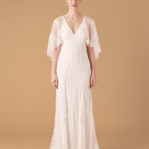 Monsoon Christabel Cape Embroidered Bridal Dress Ivory