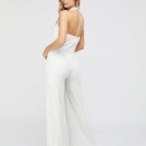 Monsoon Diana Bridal Embellished Halter Jumpsuit Ivory