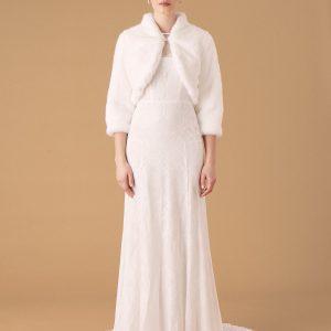 Monsoon Maria Faux Fur Bridal Jacket Ivory