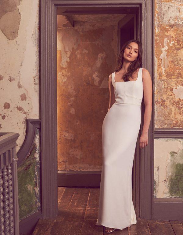 Monsoon Deja Square Neck Bridal Dress Ivory